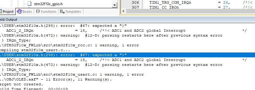 "keil5出现error:#67: expected a""}"" 错误解决方法3.jpg"
